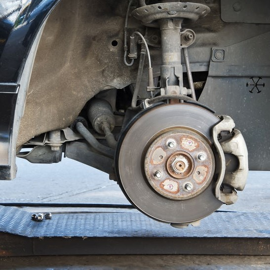 suspension access and disc brake exposed