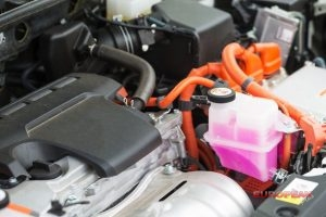 inside of a hybrid car engine