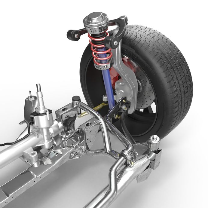 Image of Shock and Strut Which Are Both Part of a Car Suspension